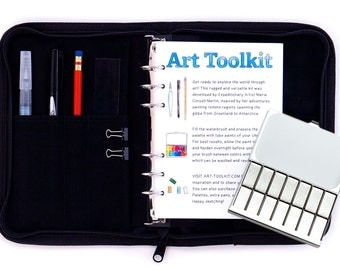 The Art Toolkit: a Travel Watercolor Sketching Kit with Pocket Palette, Waterbrush, 6 Ring Binder, and Cordura Cover.