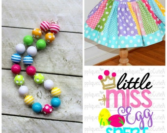 Easter outfit for girls Easter egg hunt HTV shirt for baby girl with matching skirt and necklace Pink Aqua Yellow lime skirt set for easter