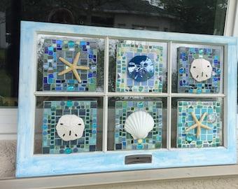 Coastal Stained Glass- glass wall art, shells, beach, nautical, sea glass, tumbled beach glass, starfish, sand dollars, sand-dollar