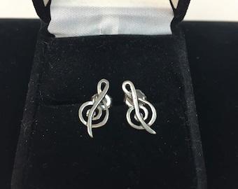 Vintage 1970s MUSIC NOTES sterling post Earrings