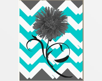 Teal Gray Modern Floral Wall Pictures, Modern Teal Home Decor, Teal Girls Room, 8x10 Matted to 11x14 White Mat