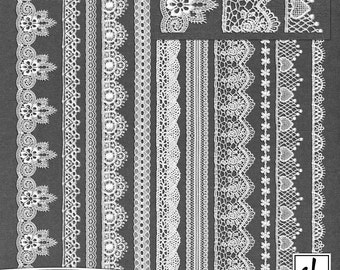 Digital Lace - Lace Clip Art- Digital Scrapbooking Lace - Lace Border - Lace Embellishments - Printable Lace - Instant Download - CU OK