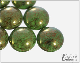 2 pc Opaque Green Teracota Czech Glass Round Cabochon 18 mm (10352)