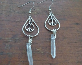 Hippie Earrings. Boho Earrings. Boho Jewelry. Peace Earrings. Peace Dangles. Crystal Jewelry. Crystal Peace Earrings. Peace Jewelry.