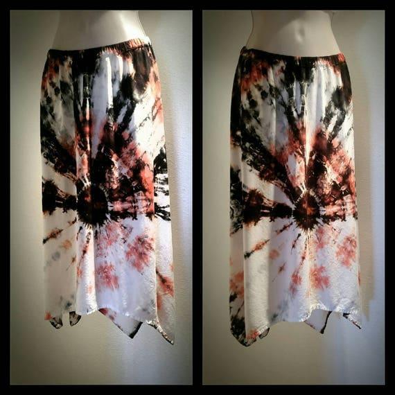 Tie Dye Asymmetric Skirt/Women's Clothing/Coral & Black Bulls Eye /Cotton/Eco-Friendly Dying