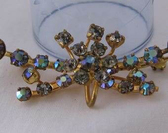 Beautiful Aurora Borealis Washed Blue Rhinestone Brooch, Marked Austria, Vintage!!