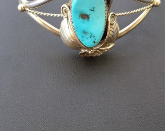 Native Vintage Turquoise Sterling silver Cuff