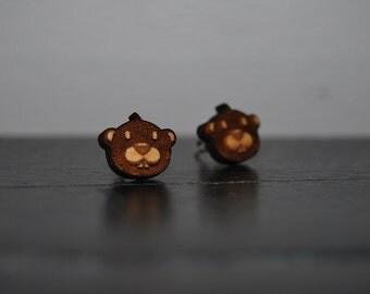 Engraved Wood Beaver Earrings with Nickel Free Studs!