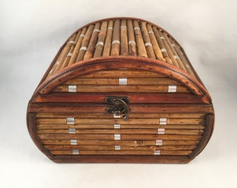 Vintage Bamboo Chest Fully Lined, Jewelry Box, Rustic Dome Style Bamboo Storage Box, Bamboo Box, Bamboo Chest