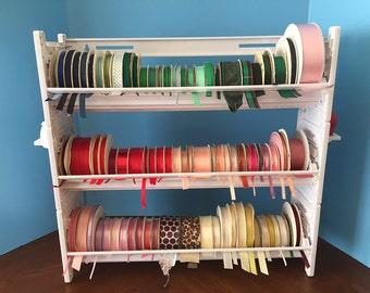 NEW Ribbon Holder Organizer Storage Rack  NO DOWELS   White Plastic   114 spools*
