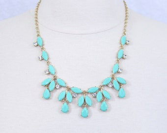 Mint Green Necklace Light Green Floral Necklace
