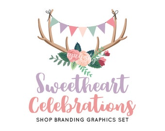 Bunting Antlers Shop Branding Banners, Avatar Icons, Business Card, Logo Label + More - 13 Premade Graphics Files - SWEETHEART CELEBRATIONS