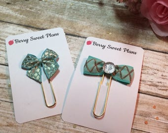 Aqua Bow - Choice of Ribbon Bow Planner Clips / Bookmarks