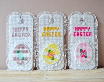 Happy Easter Cross Stitched Door Knob Hanger, Easter Decor