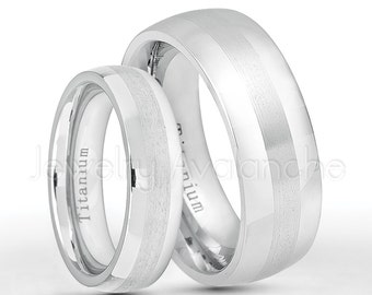White Titanium Rings, 6mm & 8mm Titanium Wedding Band Set,Polished and Satin Finish Dome Comfort Fit Bride and Groom Wedding Rings TM559-560