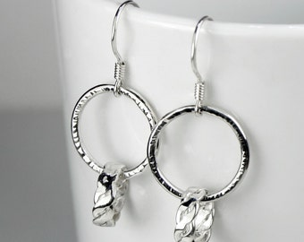 Handmade 925 Sterling Silver Loop in Loop Earrings, Hammered, Twisted, Woven, Ear Wires or Clip Ons