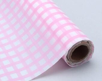 Plastic tableroll Light Pink/white ginham 100'