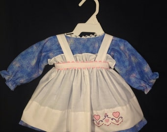Dress and Apron for 25 INCH Raggedy Ann Doll;Blue dress with color splashes,embroidered apron, and rickrack trim