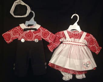 Dress, Apron,Pantaloons and Andy Suit and Hat for 25 inch Raggedy Ann and Andy Dolls;Red Handkerchief Heart on red and white Check Print