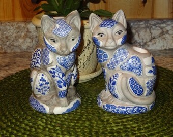 Pair of Nancy Lopez Cat Candleholders / Cat Candleholders / Nancy Lopez