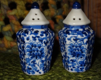 Set of Hand Painted Salt and Pepper Shakers / Cobult Blue and White Salt and Pepper / Small Salt and Pepper