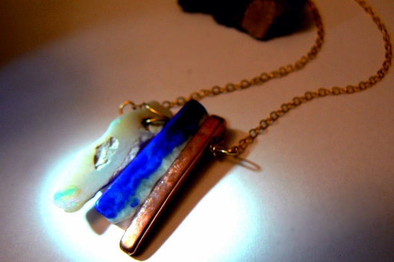 Raw Australian opal lapis pendant- Blue white rough gemstone- sticks gold necklace- Blue stone raw lapis wire wrapped pendant- Women gift