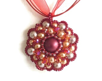 Red Pearl pendant necklace red flower pendant flower pendants
