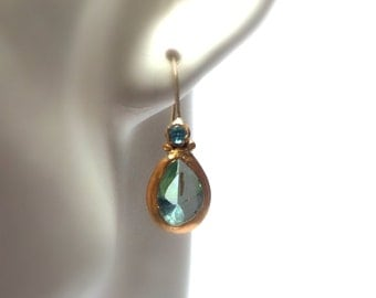 Blue Topaz Earrings - Gold Earrings - 24 K Gold Earrings - Dangle earrings - Free Shipping!!