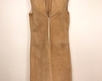 Vintage Suede Tunic Dress Zip Front Size Large Satin Lined Some Damage