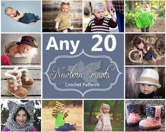 Any 20 Individual  CROCHET PATTERNS from NewbornKnots