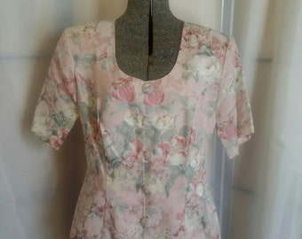 Vintage dress suit 80s Pink brocade dress suit two piece spring suit jacket skirt suit Melissa skirt suit size 10