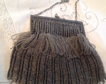 Antique beaded purse, silver, black and crystals