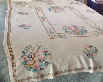 Vintage tablecloth plus 4 napkins, cross stitch, pink, green, turquoise