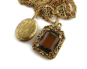 Long locket necklace  Gold Layered necklace Photo locket Large topaz necklace Goldette jewelry Multi strand necklace Victorian Revival