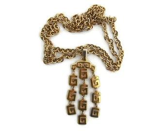 Long pendant necklace Statement pendant Greek key jewelry Vintage Trifari gold chain necklace Long chain necklace Vintage jewelry gift