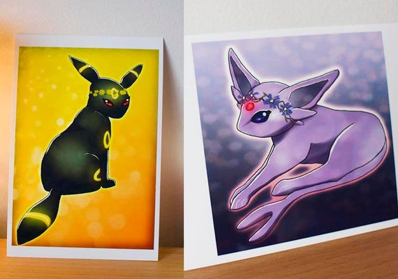 Flower Espeon and Umbreon Art Prints