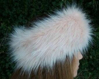 Peachy Pink Faux Fur Headband / Neckwarmer / Earwarmer Handmade in Lancashire England