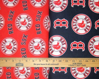 Boston Red Sox MLB Red & Navy Logo Cotton Fabric by Fabric Traditions! [Choose Your Cut Size]