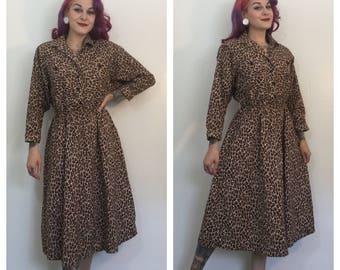 Vintage 1980's Leopard Print Dress