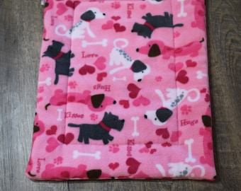 Crate pad, valentines fleece, crate mat, dog bedding, dog bed, crate bed