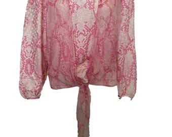 1970s Pastella Pink White Fine Silk Snakeskin Print Blouse Top Tie Front