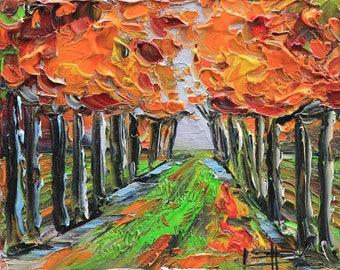 California Art, Landscape Painting, Vineyard Art, Napa Valley, California, Palette Knife, 8x10, Award Winning San Francisco Bay Artist