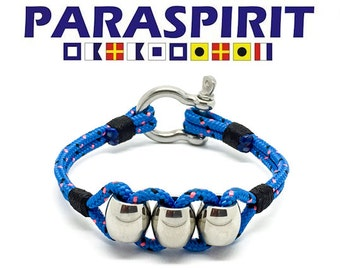 Paraspirit Nautical Rope Bracelet with Stainless Steel Beads & Shackle