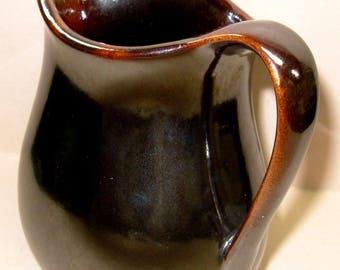 Brown Pottery Mirror Glaze Small Jug, Vintage Yellow Ware Farmhouse Pitcher