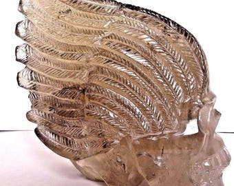 """Unique Huge 7""""Tall Carved Crystal Skull Winged Sculpture,Smoky Quartz 5lbs/2300g"""