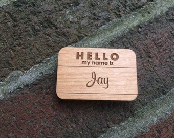 Wood Hello My Name Is Tag