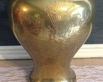 Made in India Brass Vase / Detailed Brass Vase / Extra Large Brass Vase