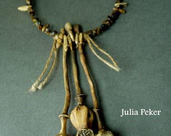Necklace Poppy pods polymer clay Necklace pendant