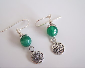Green Agate Gemstone Celtic Earrings - Item E2272