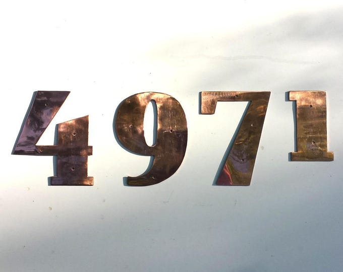 "Art Deco copper house numbers -  75mm/3"" high cutout. custom made in polished or hammered finish"